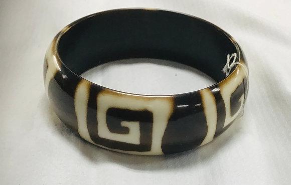 Dark Brown Wood Bracelet, beige inlay