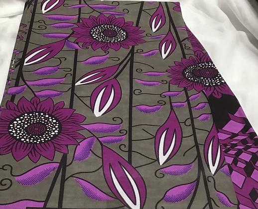 African Print Fabric, purple, white, flowers, mocha