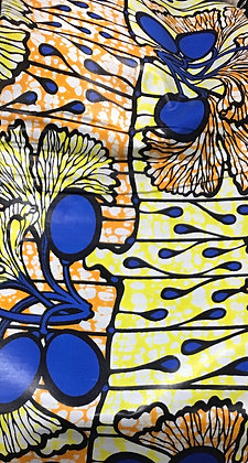 African Print Fabric, yellow, orange, blue