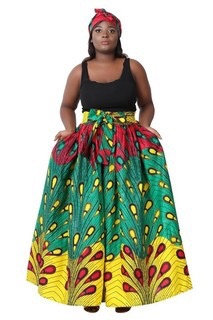 African Print Fabric Maxi, fuschia, green, yellow, peacock feathers