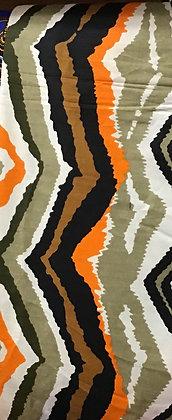 African Print Fabric,  black, brown, orange, green