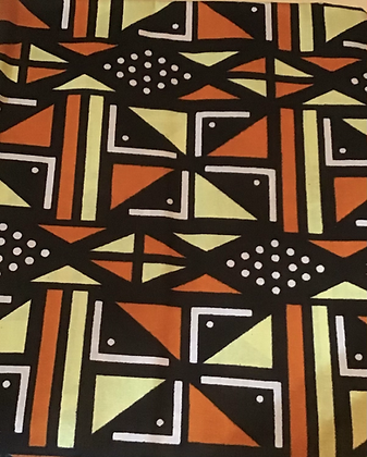 African Print Fabric, yellow, orange, black, white, dots, lines