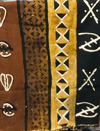 Hand Woven Mud Cloth (40) black, rust, brown, gold, gye nayme