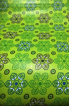 African Fabric, green, flowers, leaves