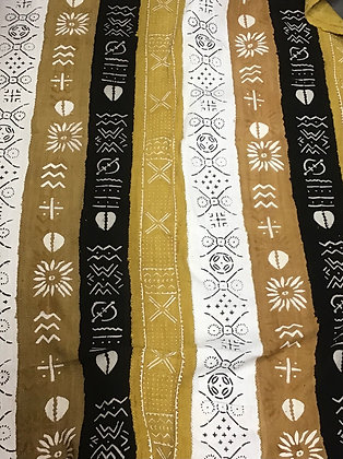 Hand Woven Mud Cloth (58) black, gold, white, cowrie shell