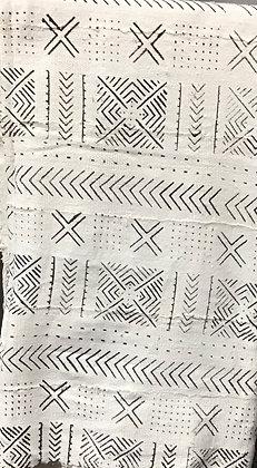Hand Woven Mud Cloth (20) white imprinted with black, crosses, chevrons