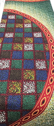 African Wax Print Fabric,  green, black, brown, red, white