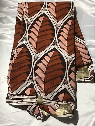 African Print Fabric, rust, coral, leaves