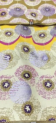 Woodin Print Fabric, purple, lilac, yellow, gold, fuschia
