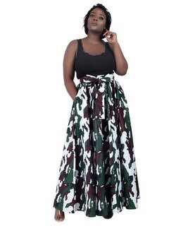 African Print Maxi Skirt, camouflage on white background