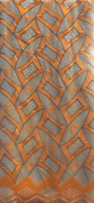 Gray & Orange Lace Fabric