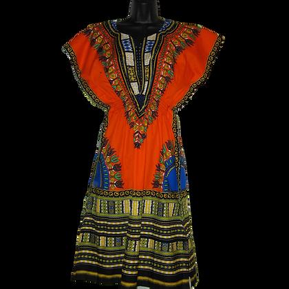 Orange Dashiki Dress (Short)