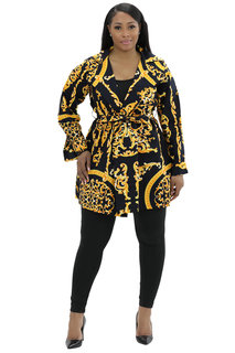 African Wax Print Jackets, head wrap and mask, PLUS SIZE