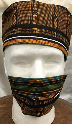 Dark Kente Kufi and Mask
