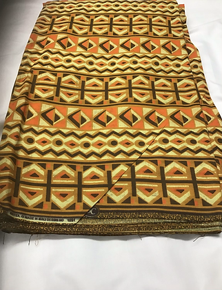African Print Fabric, yellow, orange, brown