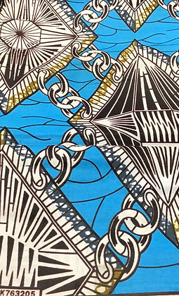 African Print Fabric, sky blue, brown, chains