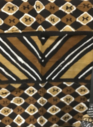 Hand Woven Mud Cloth (24) diamonds, clover, brown, gold, black and