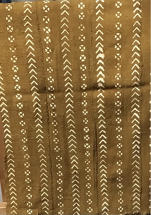 Hand Woven Mud Cloth (10) dark tan with chevron and circles with (x) inside