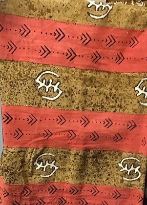 Hand Woven Mud Cloth (56) brown, coral, gye nyame