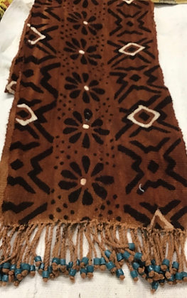 Mud Cloth Scarf with tasseled Beads