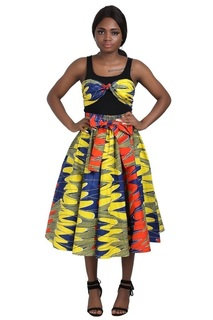 African Print Mid Length Skirt, head wrap and mask