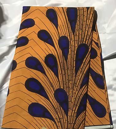 African Print Fabric, golden rod, blue, peacock feathers