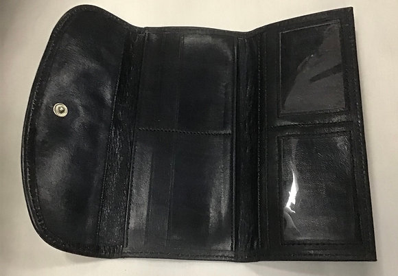 Cowhide Leather Wallet with Mud Cloth inset - black