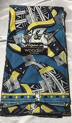Woodin Vogue Ambition Fabric, blue, black, silver, yellow