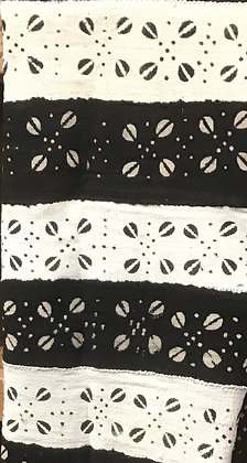 Hand Woven Mud Cloth (18) white, black, cowrie shells