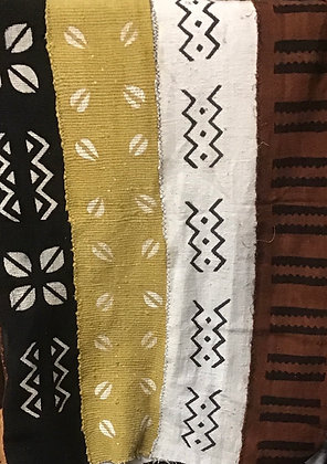 Hand Woven Mud Cloth (46) white, brown, black - brown border