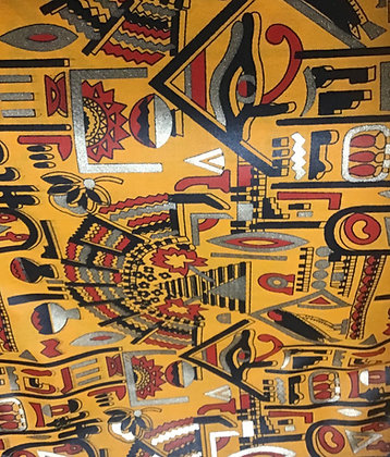 African Print Fabric, gold, black, red, gold, white