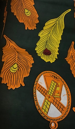 African Fabric, orange, yellow, orange, autumn