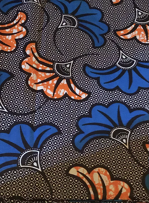 African fabric print, flowers, blue, orange
