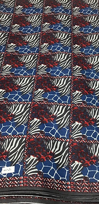 Woodin Print Fabric, blue, red, stripes