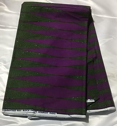 African Print Fabric, green, purple, spikes
