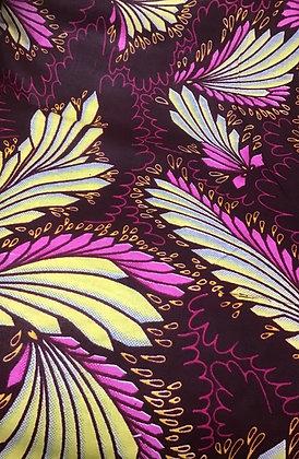 African Fabric, purple, fuschia, brown, yellow, light blue