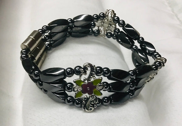 Beaded  Magnetic Bracelet with green focal bead