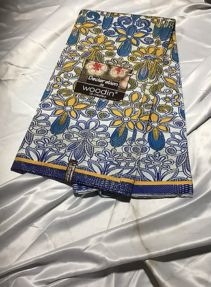 Woodin Declaration Fabric, blue, yellow, flowers
