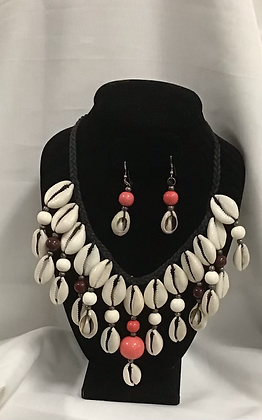 Cowrie Shell Choker Double Stranded with Earrings