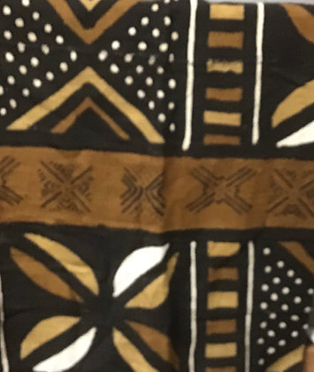 Hand Woven Mud Cloth (30) brown, gold, black, white, dots, lines, diamonds