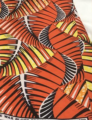 African Print Fabric, orange, yellow, black, white