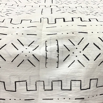 African Mud Cloth PRINT Fabric - #55 - black and white