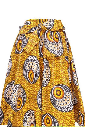 African Print Mid Length Skirt - Gold/Yellow