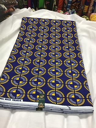 African Wax Print Fabric, yellow, blue, circles