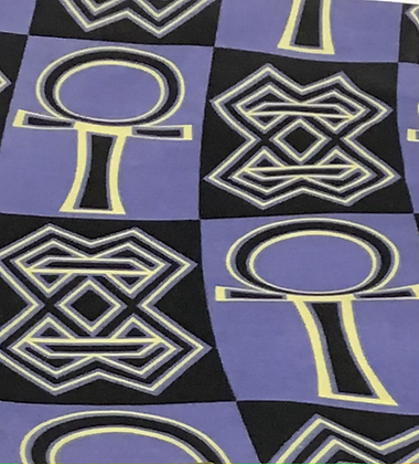 African Print Fabric, purple, black, gold, ahkn
