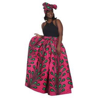 African Print Maxi Skirt, green peacock feathers on fuschia background