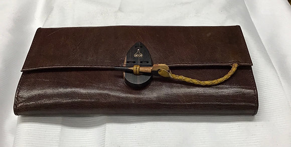 Cowhide Leather Wallet, brown and yellow