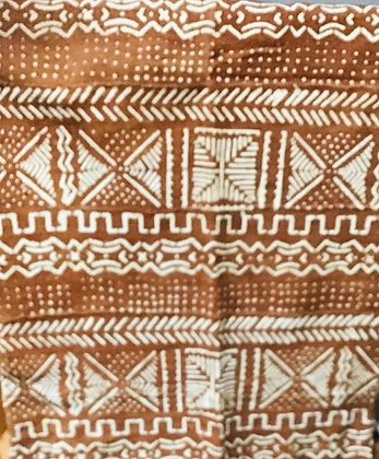 Hand Woven Mud Cloth (37) rust and white, lines, dots