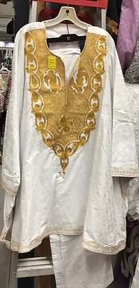 White and Gold Brocade Suit