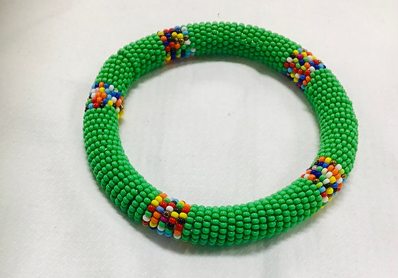 Beaded Bangle, green with multicolored beads, you can stack them at his price